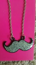 Justice adorable glitter BFF mustache necklace NWT
