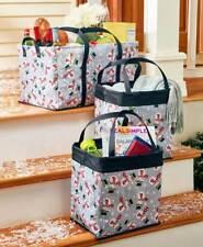 3 Pc Snowman Multipurpose Tote Set Organizers Christmas Seasonal Groceries Gifts