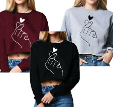 FINGER HEART SIGN KPOP I LOVE YOU BACK TO SCHOOL PRINT TRENDY CROP TOPS 3 COLORS