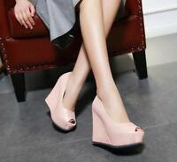 Fashion Ladies Shoes Slip On Chic Wedge Heels Open Toe High Platform Party New 8