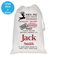 PERSONALISED CHRISTMAS SACK SACKS WHITE SANTA KIDS REINDEER LARGE 30X45CM BAG