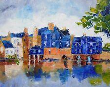 Grande toile de Nolac 50X40 cm tableau peinture bretagne LANDERNEAU