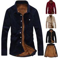 Men's Casual Shirt Thicken Long Sleeve Corduroy Shirts Top Blouse Slim T Shirt