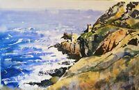 "ORIGINAL watercolour Botallack Cornish tin mine 21"" x 13""  YouTube Marilyn Allis"