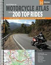 Hema Maps Australia Motorcycle Atlas + 200 Top Rides 6th Ed 2 Books & Wall Map
