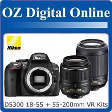 New NIKON D5300 18-55 II+55-200mm VR Twin Kits+16GB+Gift 24MP DSLR 1 Year Au Wty