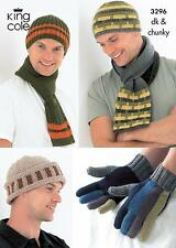 King Cole 3296 Knitting Pattern Mens Hats, Scarves and Gloves in DK and Chunky