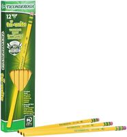 Dixon Ticonderoga Tri-Write Triangular 12 Pencils HB #2 Black Lead Yellow Barrel