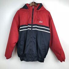 Asic Performance Jacket Mens Large Red Blue Nylon Hooded
