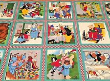 FAIRY TALE FRIENDS Fabric Panel Quilt Squares kids Book Green American Jane MODA