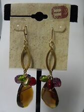 New Buckle Gold Tone Fish Hook Earrrings Dangle Amber, Red Gold Green Beads *O5*