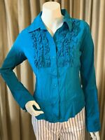 NWT Plenty by Tracy Reese Women's Silk Blue Ruffle Collar Button Up Blouse Shirt