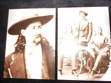2 vintage photo postcard Wild Bill Hickock + Buffalo Bill + Texas Jack Omohundro