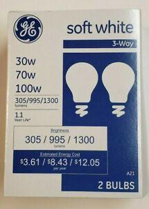 2 PACK GE 3-Way Soft White Light Bulbs 30/70/100 E26 Base New 51J