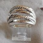 David Yurman New Wide CrossOver Sterling Silver Cable Band Ring Size 8.5 & Pouch