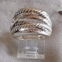David Yurman New Wide CrossOver Sterling Silver Cable Band Ring Size 6.5 & Pouch