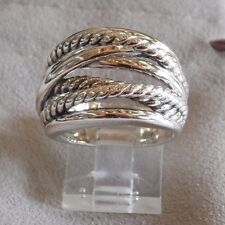 David Yurman New Wide CrossOver Sterling Silver Cable Band Ring Size 6 w Pouch