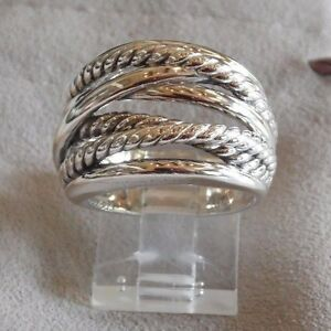 David Yurman Wide CrossOver Sterling Silver Cable Band Ring Size 5 w/ Pouch