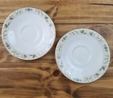 Royal Doulton Mandalay TC1079 Tea Cup Saucer Tray x2 Blue White Flowers Leaves