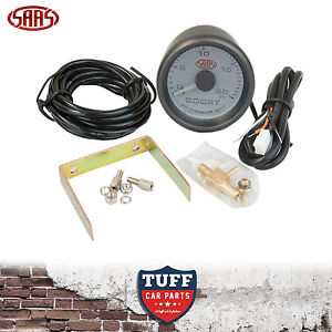 SAAS Turbo Diesel Boost Gauge White Face Dial 52mm Multi Colour + Fitting Kit