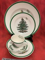 Spode Christmas Tree 5 Piece Place Setting Cup Saucer Dinner Salad Bread Plates