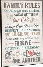 """Family Rules Decorative Wall Plaque - 12.0"""" x 16.0"""" - Made in USA"""