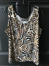 New Soldout Chico's Slinky Neutral Lacey Animal Tank Top Shirt  3 = XL 16 18 NWT