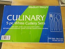 Culinary 5 piece White Cutlery Sets medium weight total 250 sets individually w