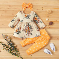 3PCS Toddler Kids Baby Girl Long Sleeve Dress Tops Bow Floral Pants Headband Set