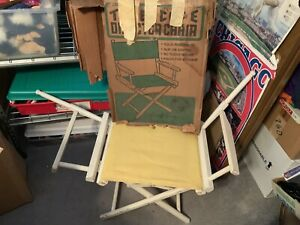 Vintage Directors Chairs Wood Canvas Yellow Foldable COMPLETE W/ ORIGINAL BOX