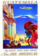 Guatemala Airplane Central Latin America American Travel Advertisement Poster