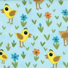 Chicks on Blue Oink A Doodle Moo Moda Quilt Fabric by the 1/2yd