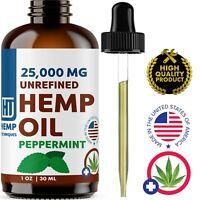 Peppermint Hemp Oil For Pain Relief Anxiety, Sleep 1 oz 25 000 mg