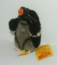 """Vintage Steiff """"Maxi"""" mole with tag and brass button, acrylic/cotton"""