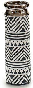 30cm Tall Round Ceramic White & Silver Decorative Flower Vase Geometric Design