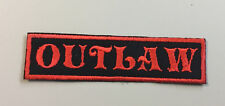 "Custom  Biker Vest Patch OUTLAW  4""X 1"" RED"