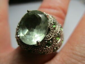 STERLING SILVER VINTAGE JC PALE GREEN AMETHYST SCALLOPED COCKTAIL RING SIZE 9