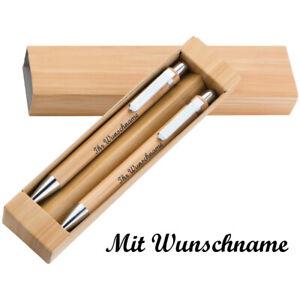 Bambus-Schreibset mit Namensgravur - Kugelschreiber und Druckbleistift