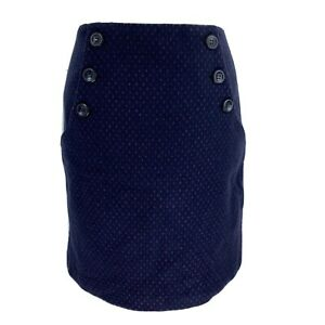 Womens Laura Ashley short navy wool with polka dots mix skirt UK Size 10 EXC CON