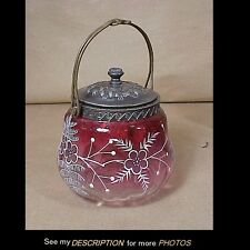 Antique Silver Plate Sweetmeat Jar Bowl Dish White Enameled Floral & Leaves