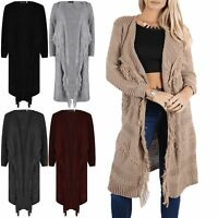 Womens Cardigan Ladies Chunky Cable Knit Tassel Long Sleeve Open Front Waterfall