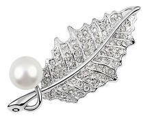 Luxury Bridal Weddings Shine White Pearls & Silver Tone Leaf Brooch Pin BR87