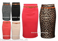 New Womens Belted Plain,Leopard & Monochrome Printed Office Bodycon Pencil Skirt