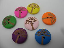 """25 x Wooden~2 hole """"Tree """" Buttons~Flat,round 20mm x 4mm~ Mixed Colours"""