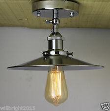 New Industrial Retro Vintage Chrome Metal Shade Ceiling Pendant Flush Mount LAMP