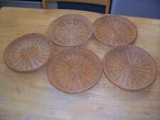 Set Of Five (5) Wicker Rattan Woven 9� Paper Plate Holders