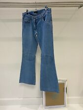 Mulberry Light Blue Cotton Denim Flared Leg Knee Patch 70's Look Jeans UK 10