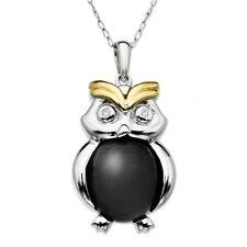 Argento Sterling & 14 carati Ylw Oro Diamante Vero & ONICE gufo