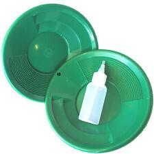 "2 Pk 8"" Green Gold Pans with Dual Riffles & Bottle Snuffer. Mining Panning Kit"