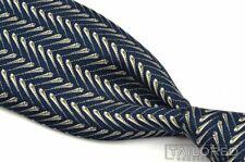 "HERMES 754 UA Blue Geometric Feather 100% Silk Mens Luxury Tie - 3.25"""